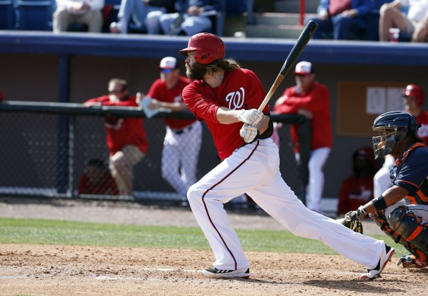 Jayson Werth at bat. Photo courtesy of Alex Brandon/AP.