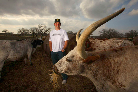 Ross Ohlendorf has stirred Nats fans with his fast pitch, but he stirred yours truly with his Texas Longhorn cattle herd. (Photo courtesy of Sports Illustrated)