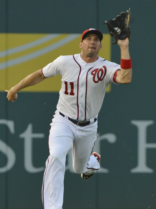 Zimmerman catching a fly ball during his debut in left field. (Photo: Tommy Gilligan, USA TODAY Sports)